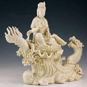 Collection-Fine-Chinese-Handwork-Carved-Porcelain-Dragon-Kwan-yin-Big-Statue